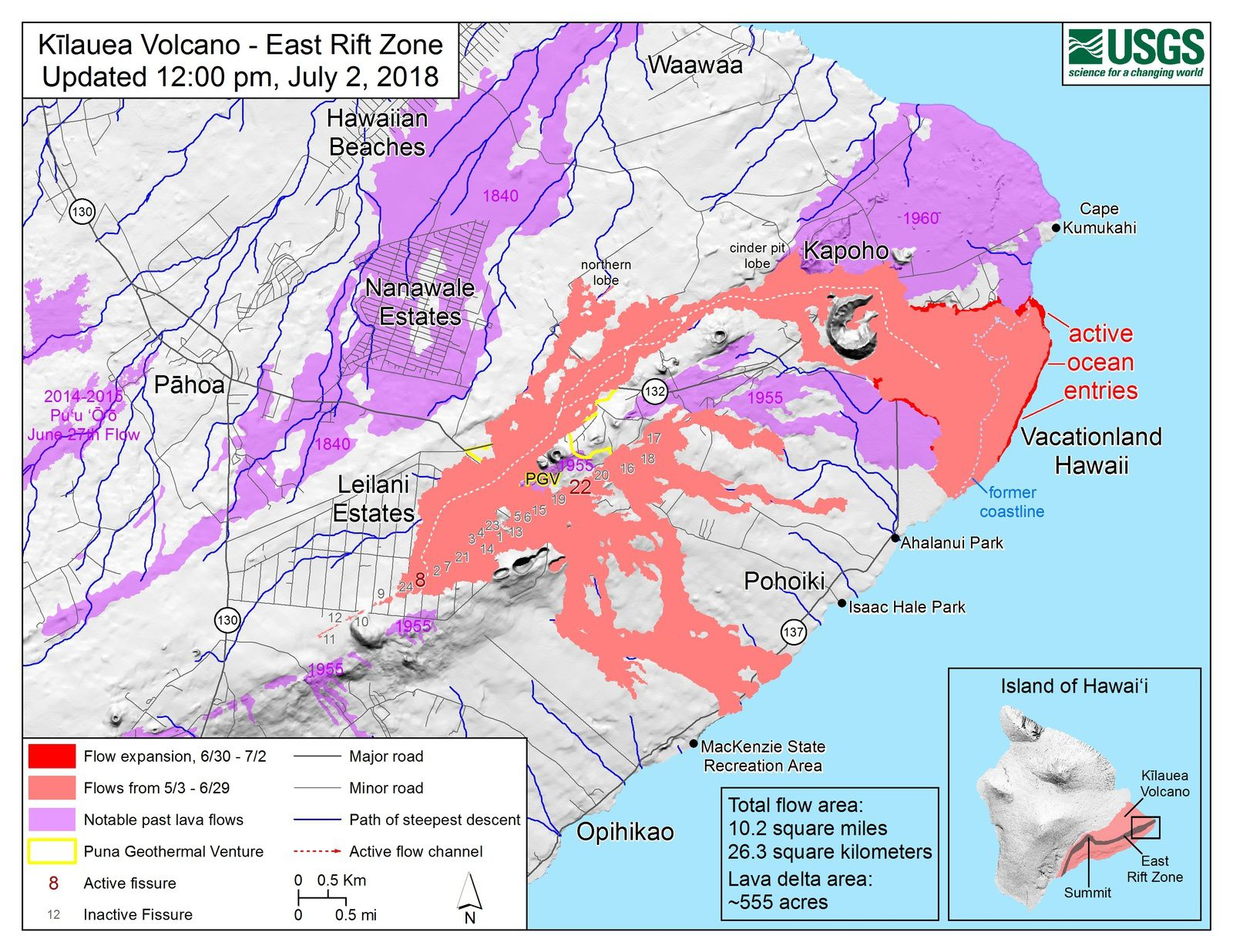 Kilauea East rift zone - 02.07.2018 / 12pm - Map of the flows and sea entrances - HVO-USGS