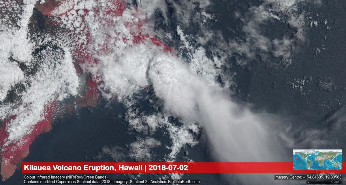 Kilauea - sea inlet plume - image NIR / Red / Green bands / Big Data Earth / Copernicus Sentinel