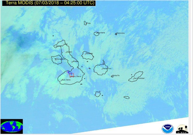 Isabela  / Sierra Negra - émissions du 03.07.2018 /  4h25 UTC - Satellite Terra Modis / NOAA
