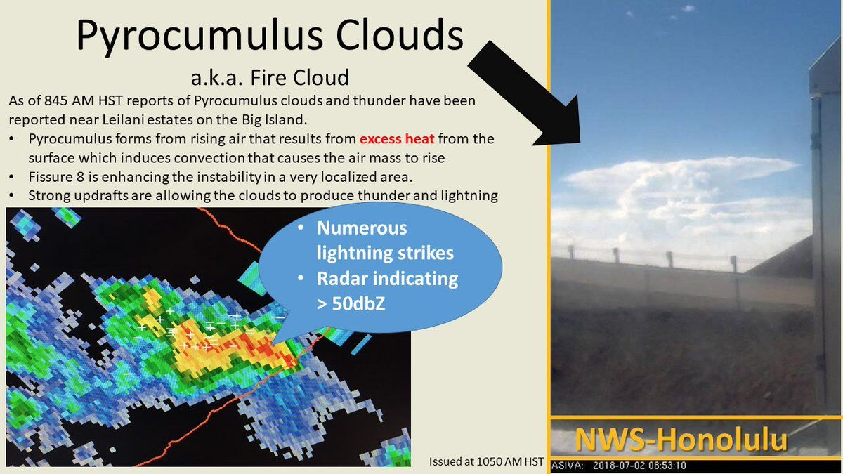 East Kilauea - Pyrocumulus and thunderstorms on lava flows - Doc. NWS 02.07.2018