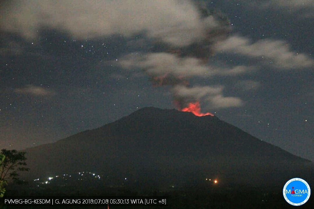 Agung - Strombolian activity from 08.07.2018 / 5h30 photo PVMBG