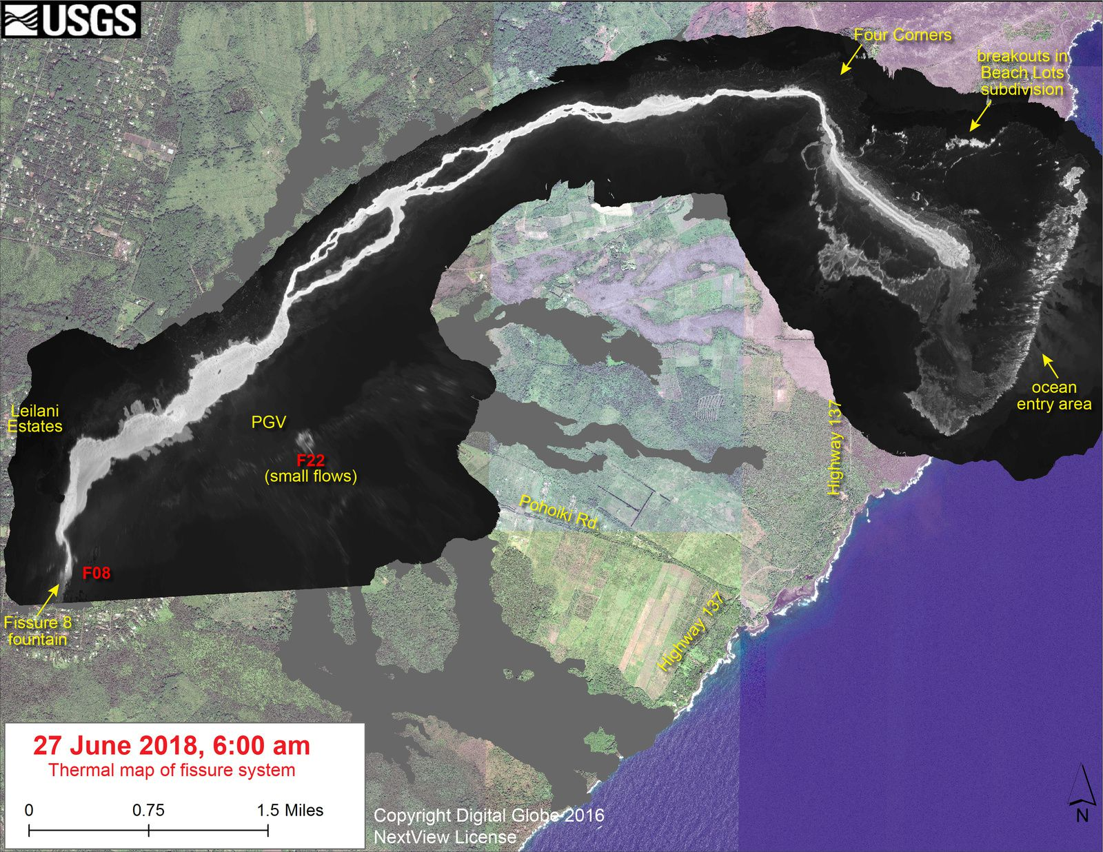 Kilauea East rift zone - thermal map of the fissural system at 06.07.2018 / 6h loc. - Doc. USGS-HVO