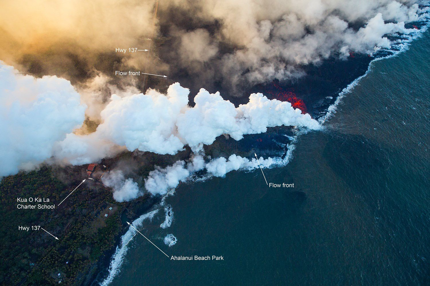 Kilauea's east rift zone overflight: Lava was approximately 150 yards from Ahalanui Beach Park, also known as the Warm Ponds, and the Kua O Ka La Charter School. - photo extreme exposure