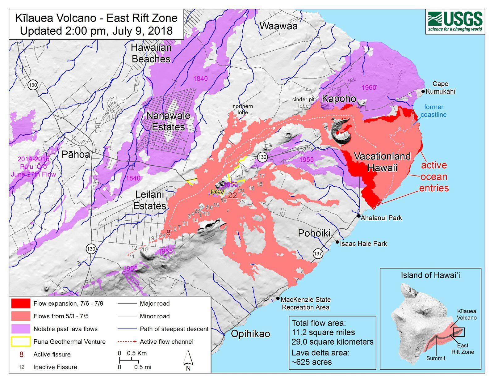 Kilauea East rift zone - thermal image and map of the flows and fissures on 09.07.2018 / 14h - Maps HVO-USGS