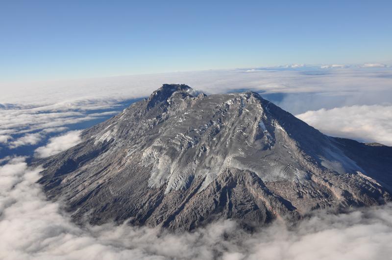Le complexe Nevado del Huila , et ses 4 sommets : Pico Norte (N), Pico la Cresta (LC), Pico Central (C), et Pico Sur (S) - GVP- doc. GVP