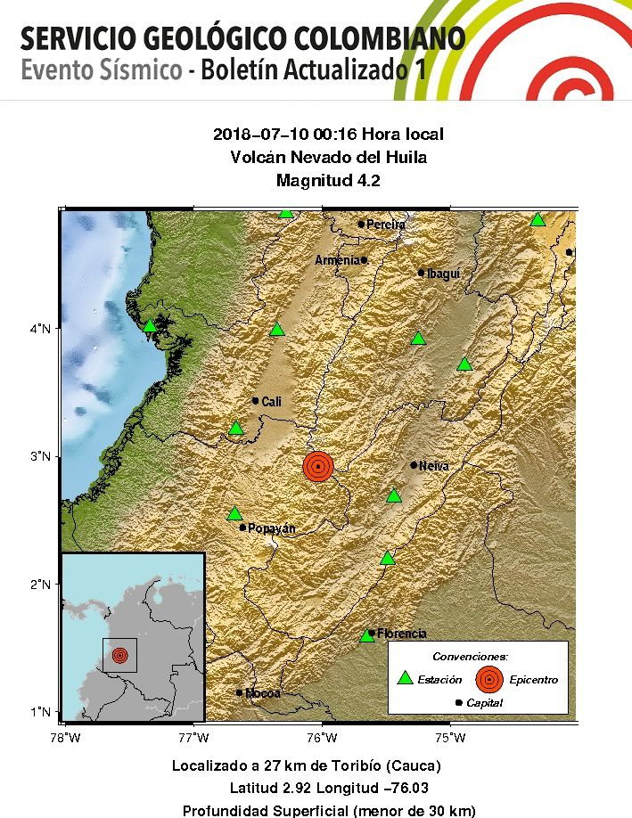 Nevado del Huila - volcano-tectonic earthquake of the 10.07.2018 / 00h16 loc. Magnitude 4.2 - SGC map