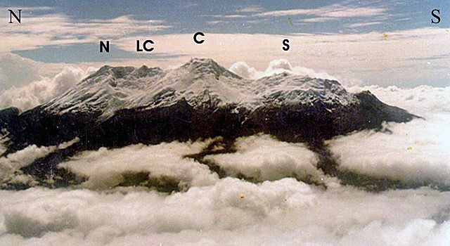 The Nevado del Huila complex, with its four summits: Pico Norte (N), Pico la Cresta (LC), Pico Central (C), and Pico Sur (S) - GVP-doc. GVP