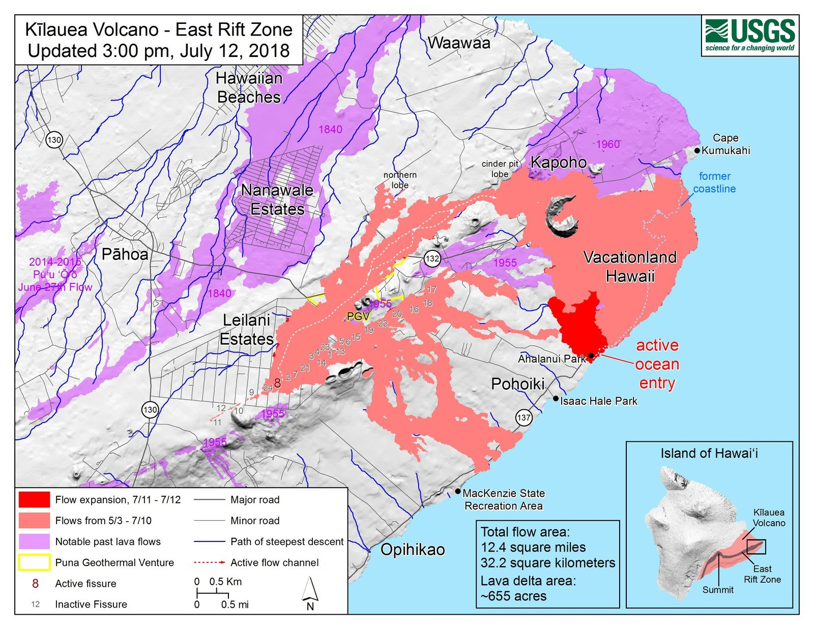 Kilauea East Rift Zone - Map of the flows and new entry at Ahalanui Park - Doc. USGS-HVO