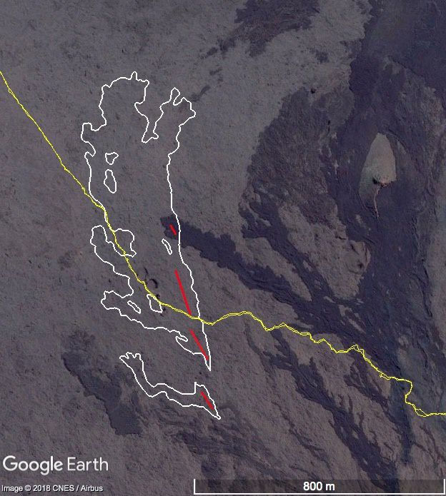 Piton de la Fournaise 14.07.2018 - cartography of lava flows emitted during the July 13, 2018 eruption made from aerial images processed by stereophotogrammetry. - In yellow, the hiking trail, cut by the lava flows- white lines - emitted by the 4 cracks - red lines - Doc OVPF