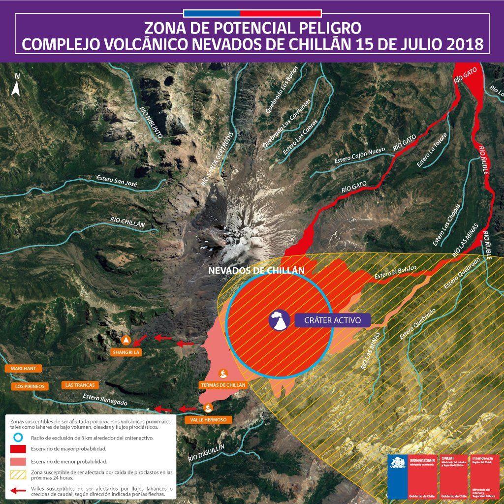 Nevados de Chillan complex - Map of potential danger zones updated on 15.07.2018 - Sernageomin