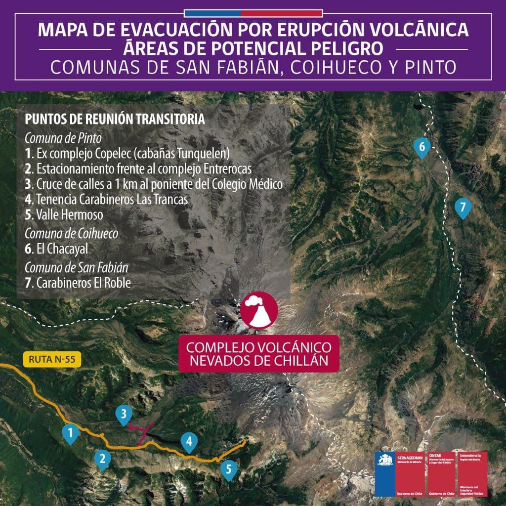 Nevados de Chillan Complex - Map of evacuation routes in case of eruption for the villages of San Fabián, Coihueco and Pinto - Sernageomin
