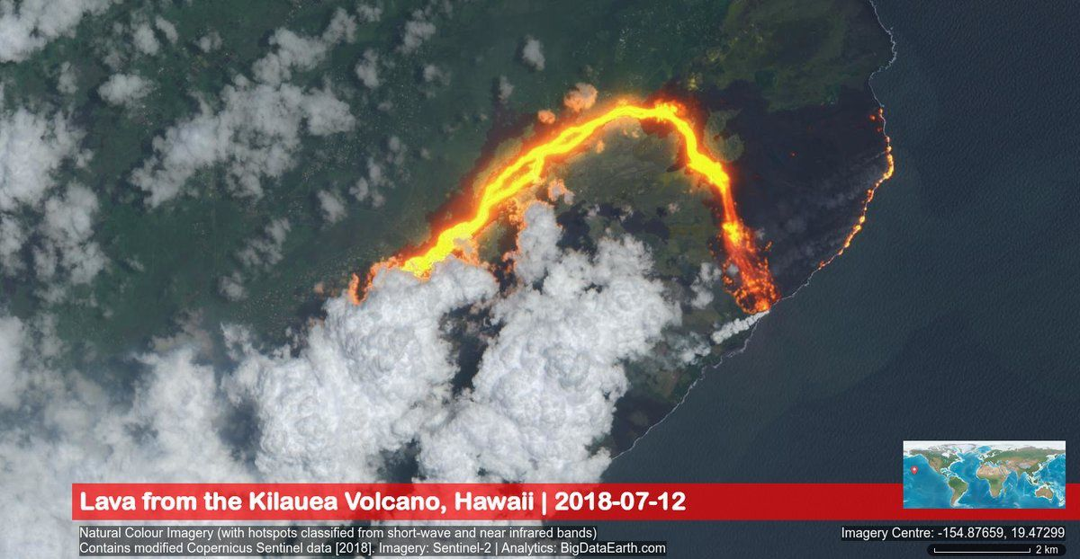 Kilauea East rift zone - image natural colors and short waves / IR Sentinel2 / Big data of the lava flow and ocean entries - Doc.12.07.2018 Big data / Sentinel