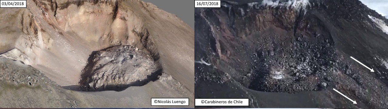 Nevados de Chillan - the dome in the active crater on 03.04.2018 / N.Luengo and 16.07.2018 / Carabinieros de Chile - on the second photo, we can see the almost destruction of the dome and the course of the avalanche of debris