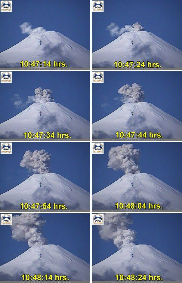 Villarica - 16.07.2018 / 10h47-10h48 - Emission of steam and pyroclastic deposits on the walls of the crater - POVI photos