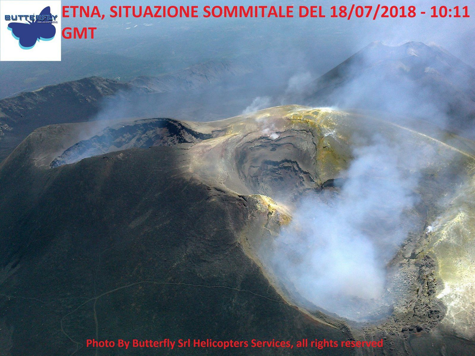 Etna - summit craters on 18.07.2018 / 10h11 - photo J.Nasi / Butterfly helico
