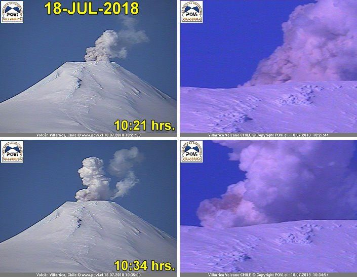 Villarica - steam and ash emission on 18.07.2018 / 10:21 - 10:34 - POVI photos