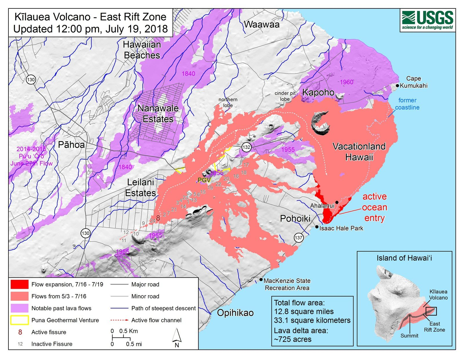 Kilauea East rift zone - map of the flow of the fissure 8 and entries at sea - Doc.HVO-USGS 19.07.2018 / 12 pm