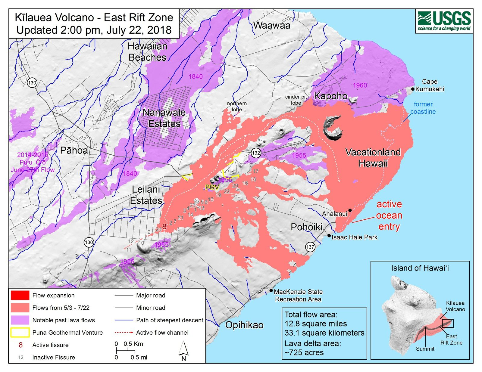 Kilauea East rift zone - no extension of the area of the flows between the maps of 22.07 / 14h and 19.07 / 12pm - Doc.HVO-USGS - one click to enlarge