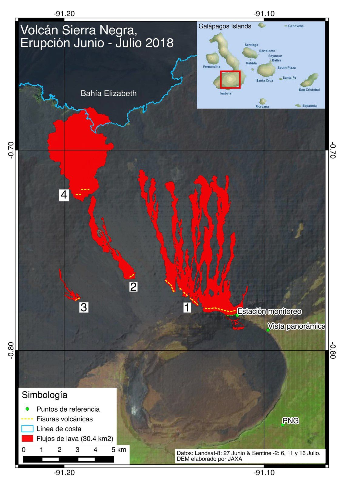 Sierra Negra - distribution of various fissures and lava flows, updated on 16.07.2018 - Doc. IGEPN