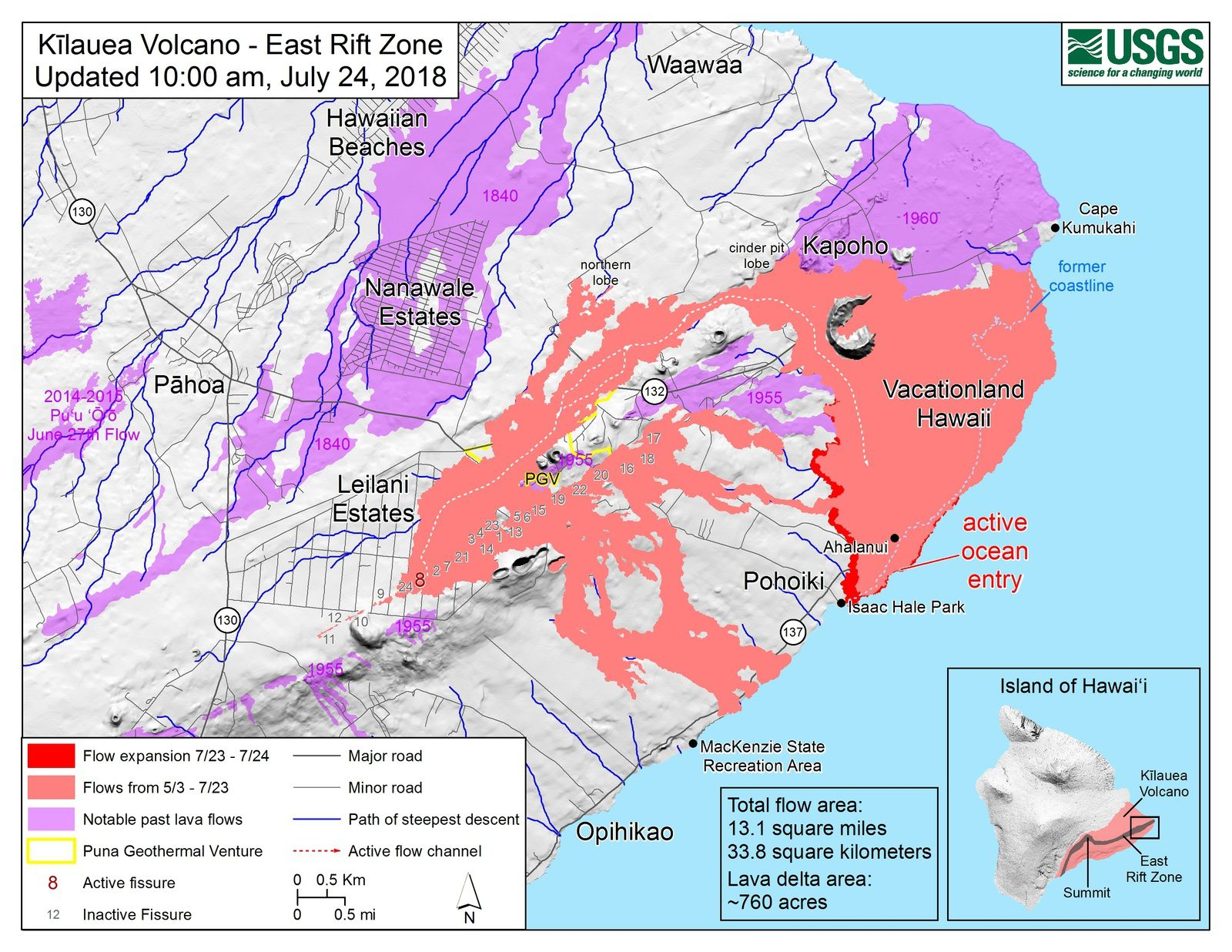 Kilauea East rift zone - map of the flows of crack 8 and entries at sea on 24.07.2018 / 10h - Doc.HVO-USGS
