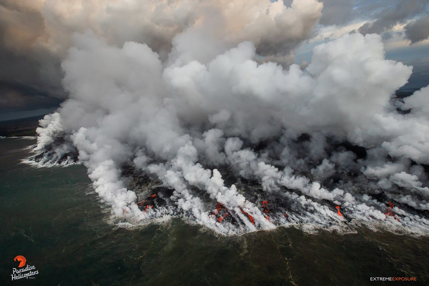 Kilauea East Rift Zone - Entries in the ocean have grown from Ahalanui to Pohoiki - photo Bruce Omori 24.07.2018 / 6h