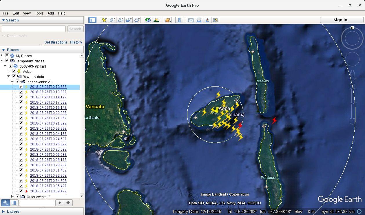 Ambae 26.07.2018 - Eclairs détectés par le WWLLN