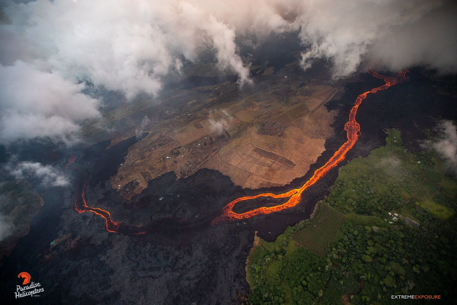 Kilauea East Rift Zone - part of the flow encrusted at the pond formed the previous days - photo Bruce Omori