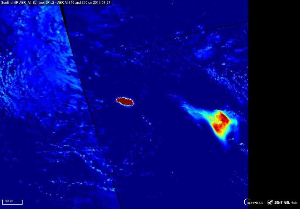 Ambae - aerosol emissions - image Sentinel image 5P / 27.07.2018