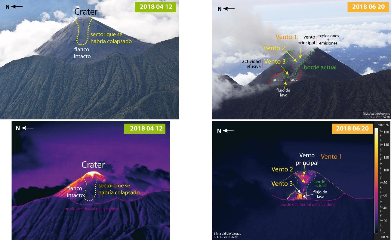 Reventador summit: on the left, situation on 10,04,2018 - on the right, situation on 20,06,2018, showing the escarpment and the presence of 3 vents - a click to enlarge - Photos and thermal images IGEPN