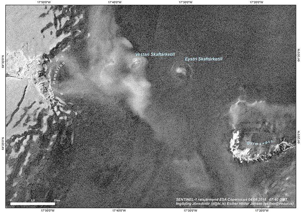 Eystri Skaftárketill couldron in Vatnajökull glacier this morning, as seen on SENTINEL-1 radar image from ESA Copernicus