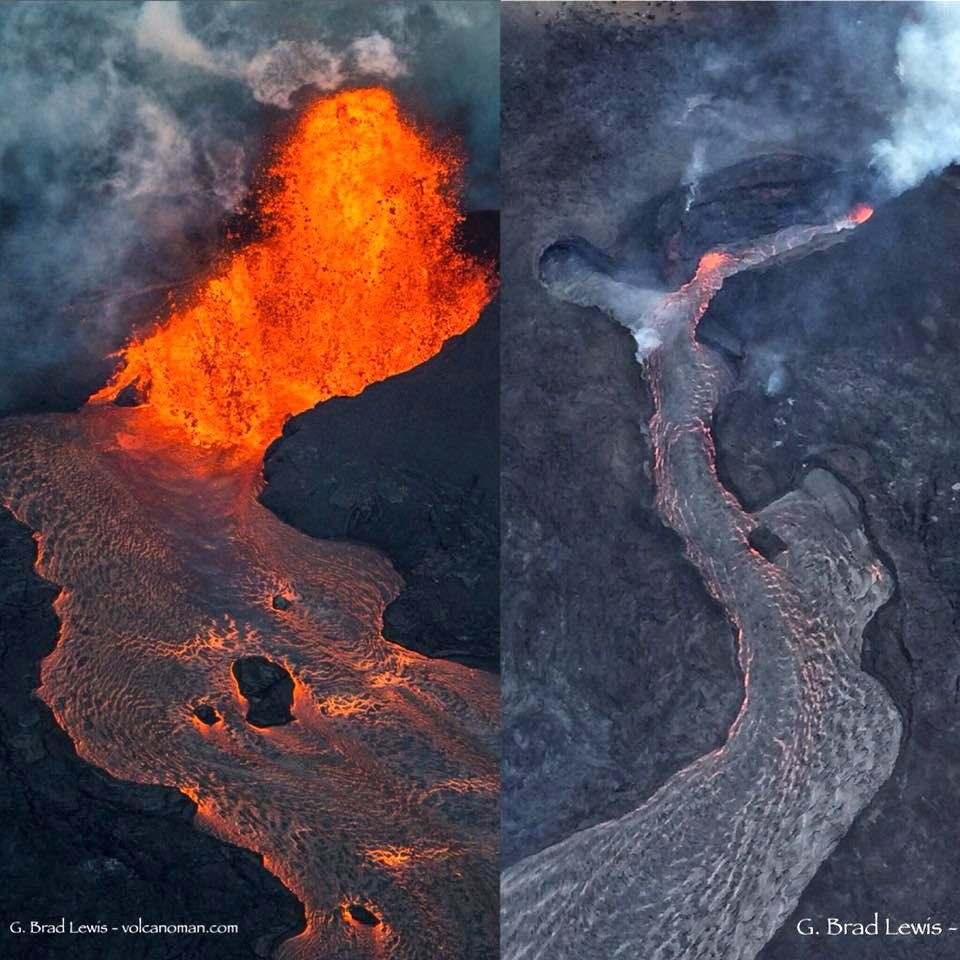 Kilauea East rift zone - photos comparing the previous activity and that of 05.08.2018 on the cone and the upper part of the flow of the fissure 8 - Doc Brad Lewis via Hawaii Tracker