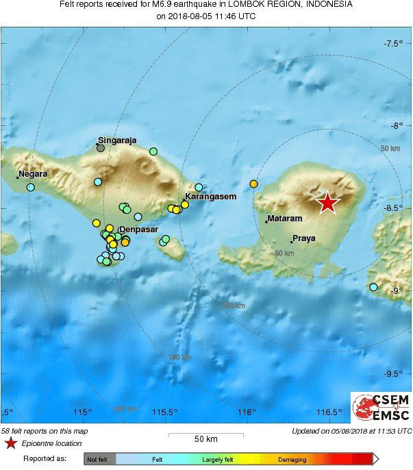 Lombok Earthquake of 05.08.2018 - table of the first feelings updated at 11:53 UTC - Doc. EMSC