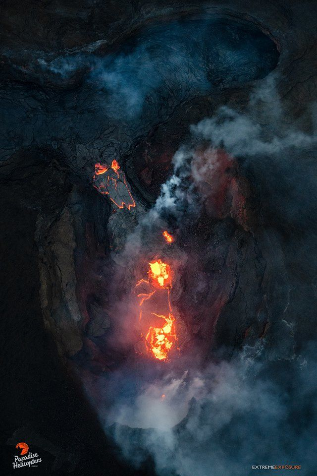 Kilauea - East rift zone - 06.08.2018 / 6h - zenith view on the cone on fissure 8, where activity is decreasing - photo Bruce Omori