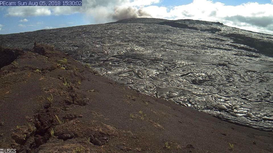 Kilauea East rift zone - gas emissions at Pu'u O'o - HVO webcam image 05.08.2018 / 15:30