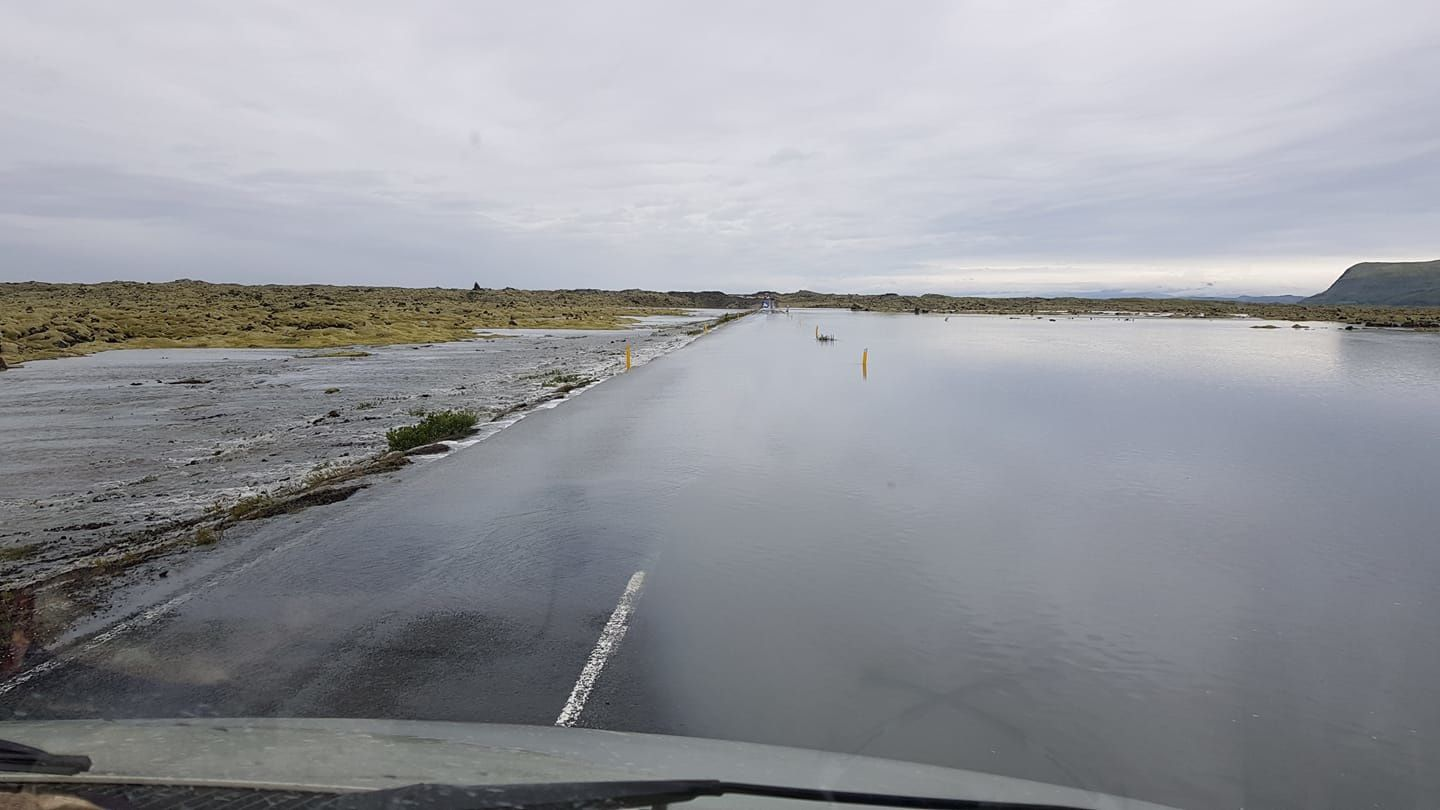 Iceland - Ice breakup on the Skaftá river, with ring road 1 closed and flooding - photo Safety travel
