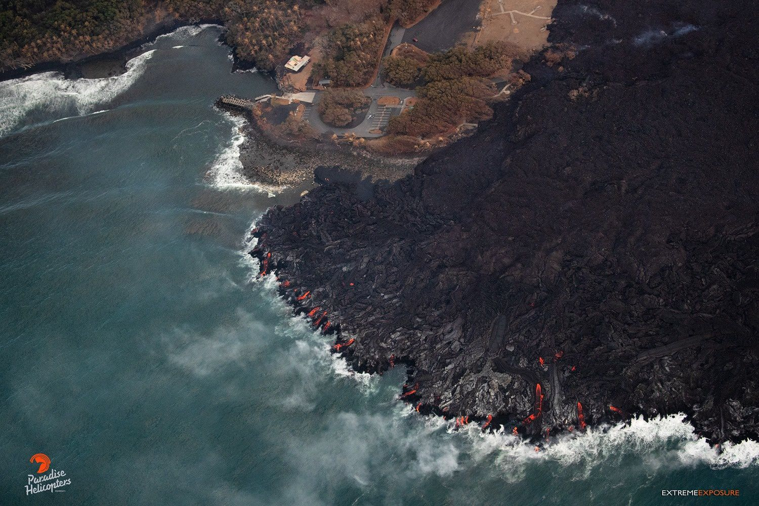 Kilauea - East rift zone - Activity on the rise near Pohoiki with many active lava entries - photo 06.08.2018 Bruce Omori