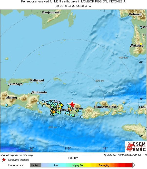 Lombok - felt reports of the intensity of the earthquake 09.08.2018 / 5:25 UTC - M5,9 - Doc.EMSC