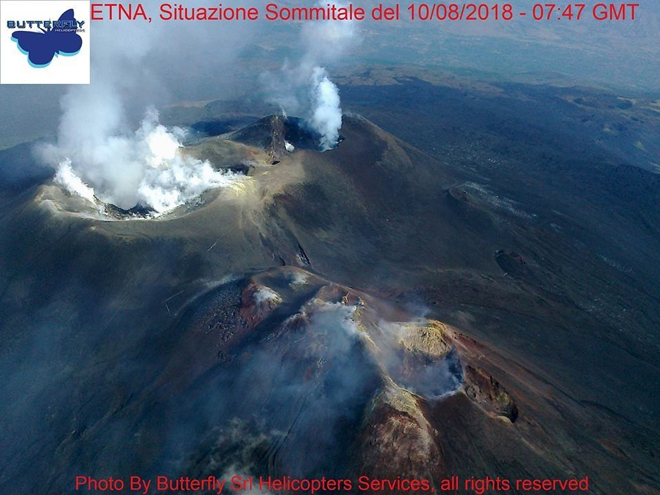 Etna - cratères sommitaux le 10.08.2018 / 7h47 GMT - photo J.NAsi / Butterfly Helicopters