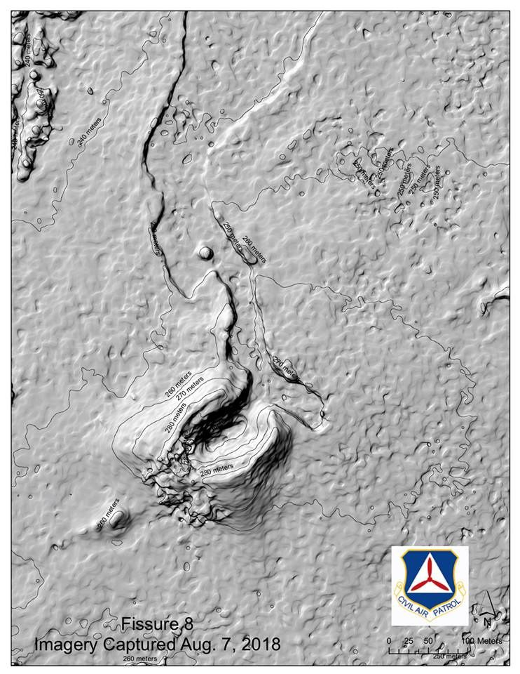 Kilauea East rift zone - 3D elevation model of the cone and the casting on the crack 8 - Doc .Civil Air Patrol
