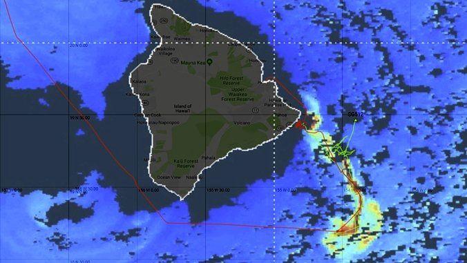 Kilauea - Prolifération d'algues repérée par satellite en août 2018 suite à l'éruption du Kilauea  - Crédit Lance Fujieki /  Hawaii univ.