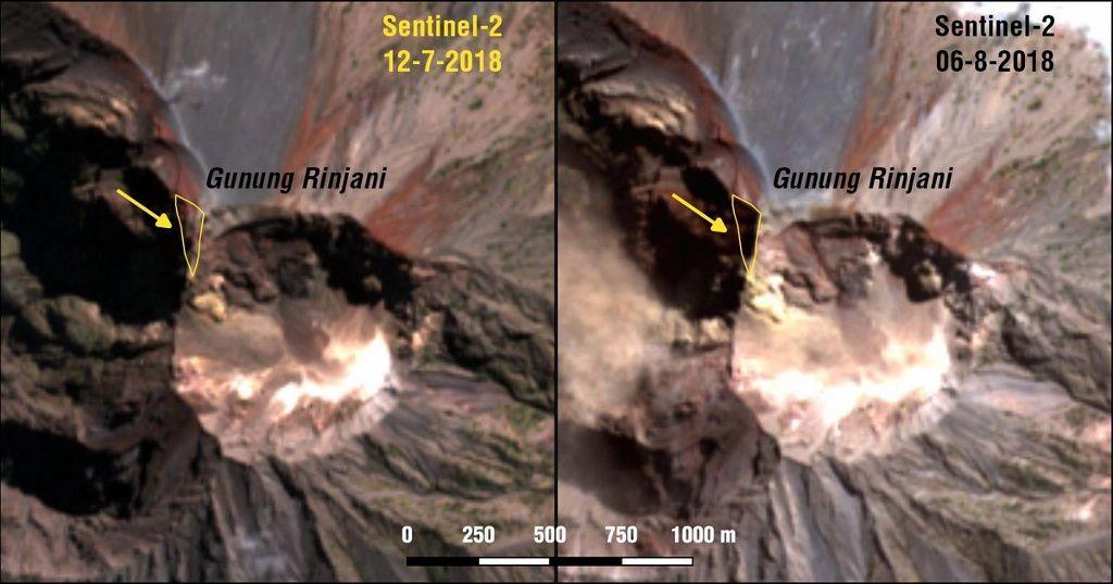 Rinjani – modifications morphologiques du sommet suite au séisme d'août de M 6,9 -  un clic pour agrandir - Doc. Sotiris Valkaniotis  / Imagery and 3D view using Sentinel2 & ALOS GDSM.