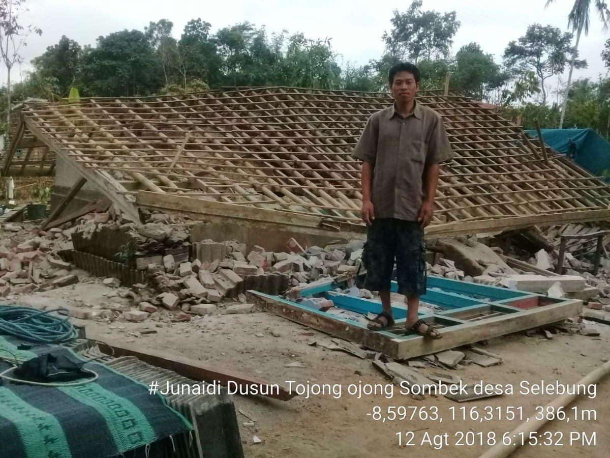 Lombok - Most of the destruction is due to the type of non-seismic construction of homes - photo in Selebung on 12.08.2018 / via BNPB