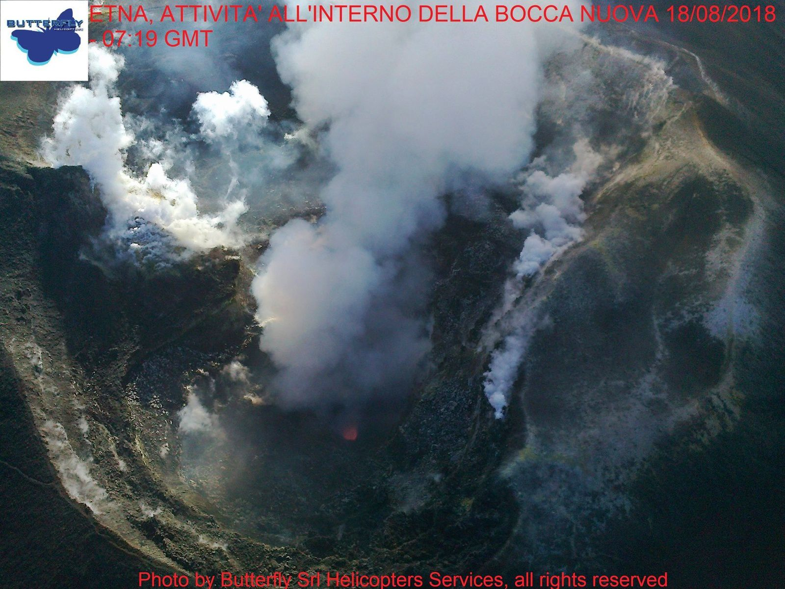 Etna - La Bocca Nuova on 18.08.2018 at 7:19 GMT - photo Joseph Nasi / Butterfly Helicopters