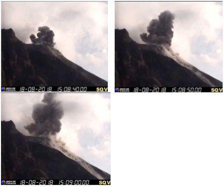 Stromboli - explosion du18.08.2018 / 15h08-15h09 UTC - webcam de la Quota 400 / INGV