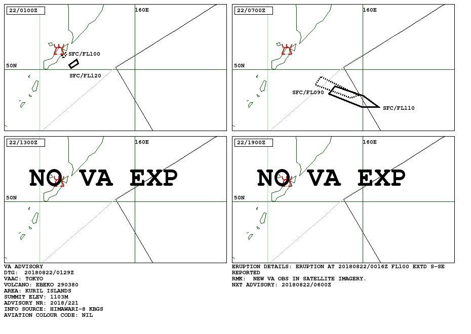 Ebeko - Volcanic Ash Advisory 22.08.2018 / VAAC Tokyo