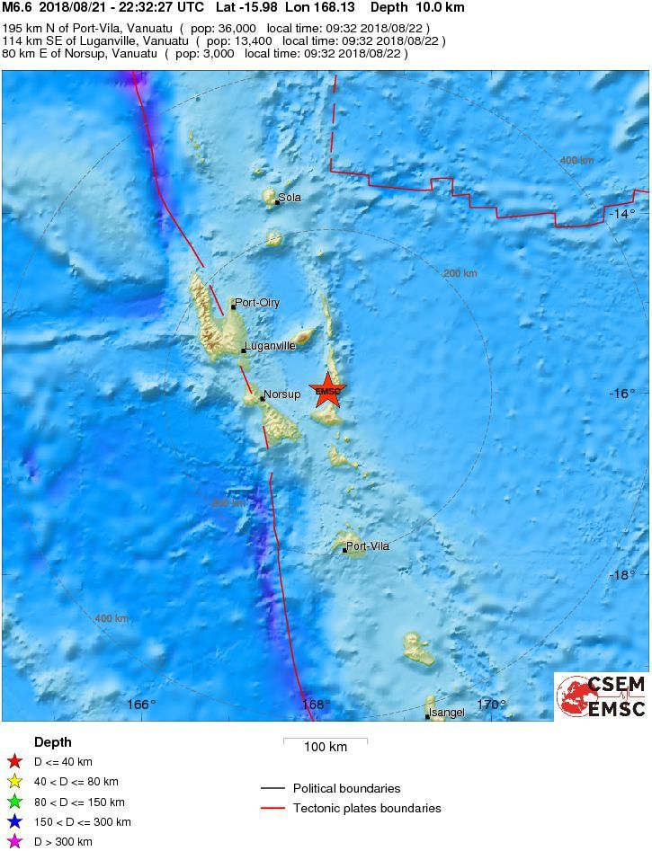 Vanuatu - epicenter of the earthquake of 21.08.2018 / M6,6 - Doc.EMSC