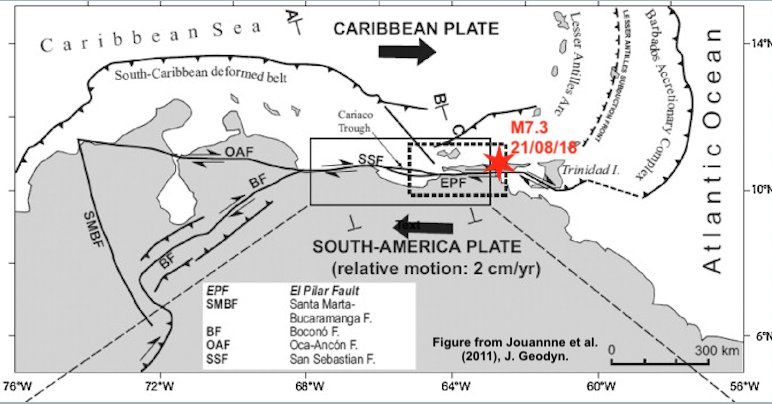 Regional tectonics - earthquake of 21.08.2018 / M7.3 off Venezuela on the El Pilar fault - Doc. via E.Fielding