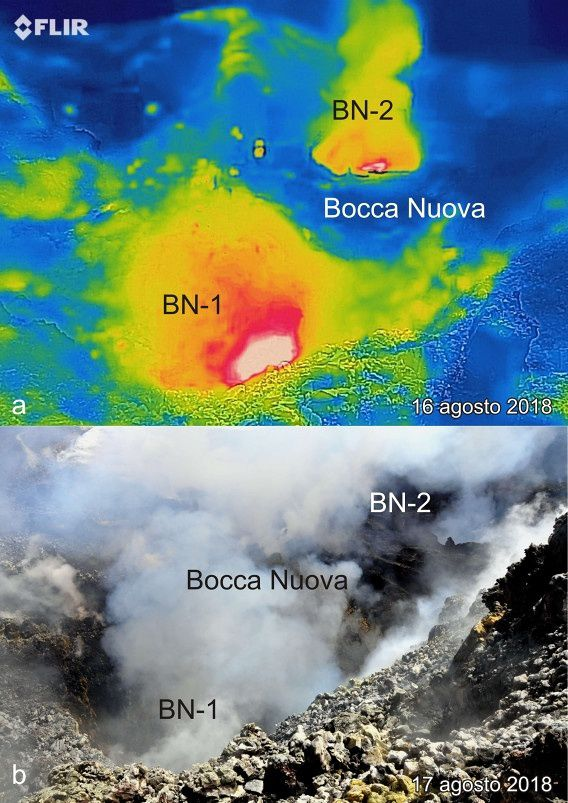 Etna Bocca Nuova - the two active mouths on August 16 and 17, 2018 - photos Marco Neri / INGV Vulcani Blog