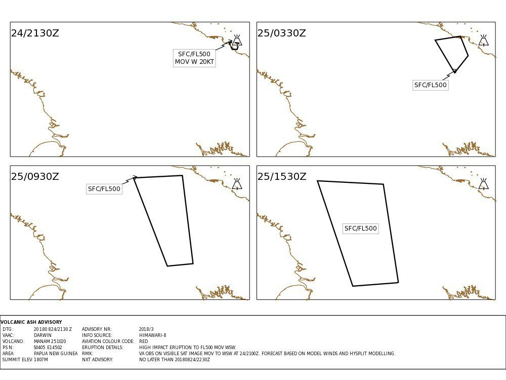 Manam - Volcanic Ash Advisory issued on 24.08.2018 / 21.30 for 24 and 25.08.2018 - Doc.VAAC Darwin