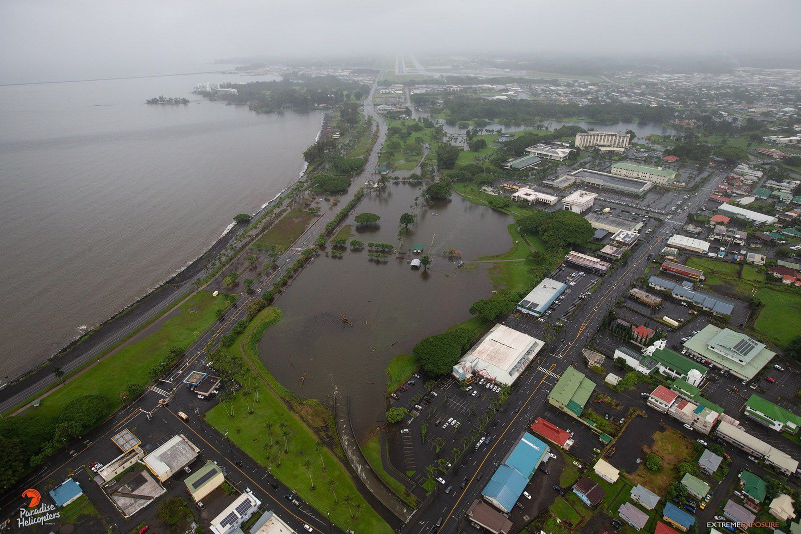 Hawaii - inondations sur Hilo après le passage de Lane - photo Paradise Helicopters 26.08.2018